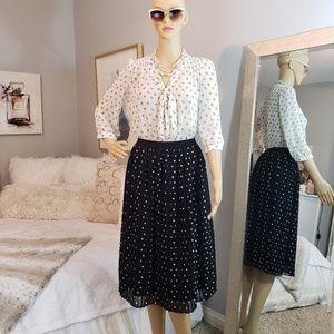 Polka dots midi pleated skirt & blouse